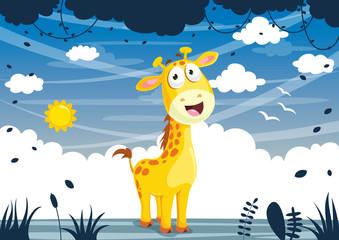Vector Illustration Of Cartoon Giraffe
