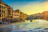 Venice grand canal, Rialto bridge at sunrise. Italy