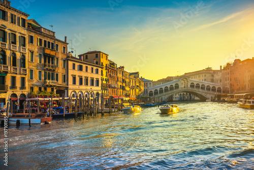 Venice grand canal, Rialto bridge at sunrise. Italy - 197101155