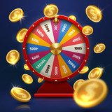 Fortune wheel and gold coins. Lucky chance in game vector background - 197102184