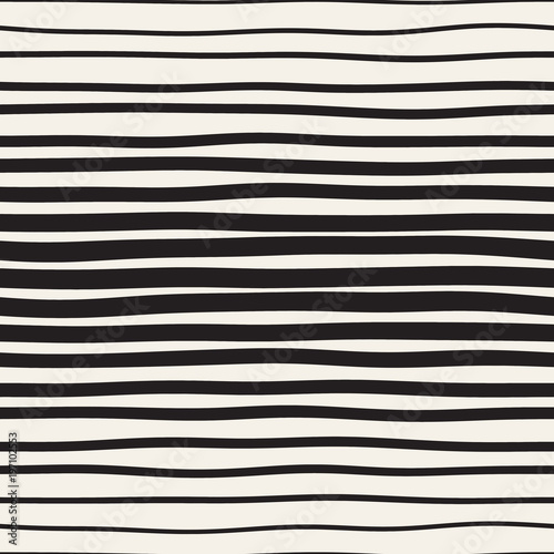Materiał do szycia Vector seamless black and white hand drawn diagonal wavy lines pattern. Abstract freehand background design