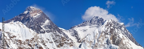 Top of Mount Everest and Lhotse from Gokyo valley