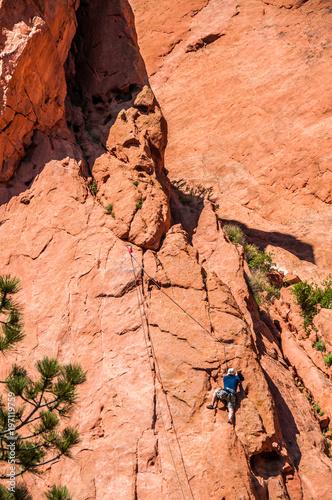 Foto op Plexiglas Oranje eclat Rock Climbing