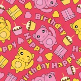 Seamless pattern with kawaii cats, birthday cake, and box gifts on pink background vector cartoon suitable for birthday wallpaper design, scrap paper and kid fabric clothes background