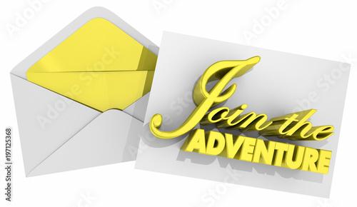 Join the Adventure Evenlope Invitation 3d Illustration