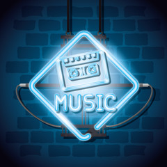 music iluminated neon label vector illustration design