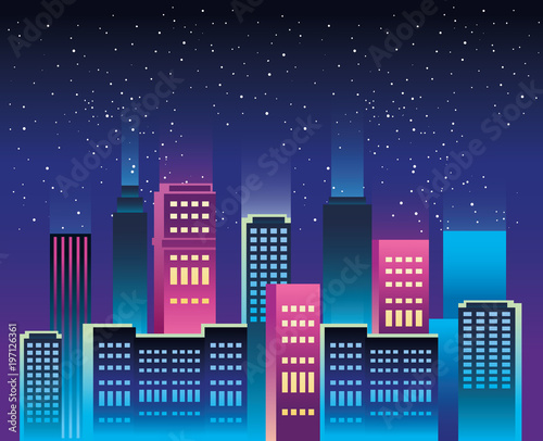 Obraz na płótnie cityscape buildings with neons lights vector illustration design