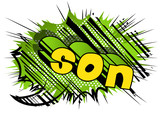 Son - Comic book style phrase on abstract background. - 197131177