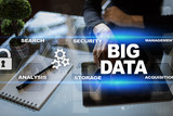 Big data technology and internet concept on the virtual screen. - 197134152
