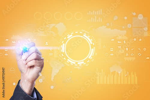 Foto Murales Internet, Business and technology concept. Icons, diagrams and graphs background on virtual screen.