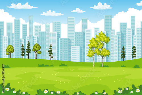 Rual summer cityscape with trees and flowers