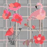 Trendy checkered  print with spring poppies and flamingo. Seamless hounds tooth pattern with English motifs.