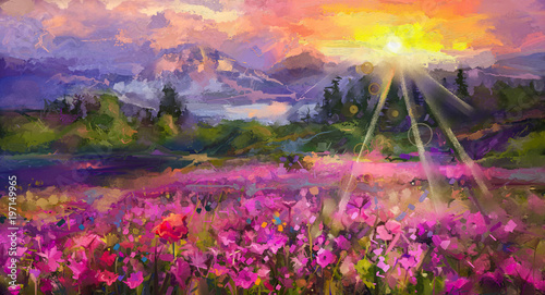 Fototapeta Abstract colorful oil painting purple cosmos flower, rhododendron flowers, wildflower in field. Violet, red wildflowers at meadow with sunrise and blue sky. Spring, summer season nature background