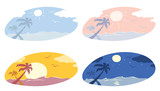 Set -- Beach View / Different times of day, vector illustration