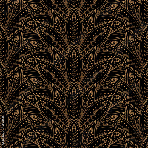 luxury background vector peacock feathers fan royal pattern seamless gold black design for yoga