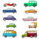 Collection with retro car in cartoon style. Color vintage retro auto. Classic car drawn set