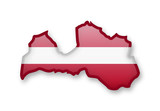 Latvia flag and contour of the country. - 197165700