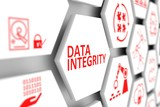 DATA INTEGRITY concept cell blurred background 3d illustration