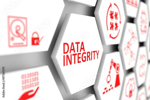 DATA INTEGRITY concept cell blurred background 3d illustration - 197166509
