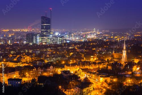 fototapeta na ścianę Cityscape of Gdansk Oliwa at night from the hill, Poland