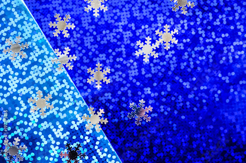 dark and light  blue holographic background texture with snowflakes - 197175136