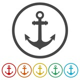 Vector anchor icon, Ship anchor or boat anchor flat icon, 6 Colors Included
