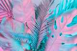 Pastel tropical palm leaves - 197187735