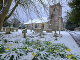 Snowy spring scene of Hambledon church of St Peter and St Paul, South Downs, Hampshire, UK - 197188730