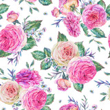 Nature seamless pattern with roses - 197190166