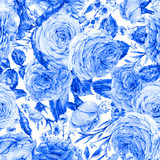 Nature seamless pattern with roses - 197191186