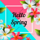 Hello Spring background with beautiful colorful flowers, vector illustration.