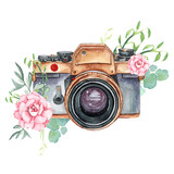 Fototapety Vintage retro watercolor camera. Perfect for photography logo