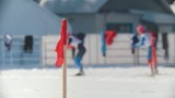 The skiers at the ski track on competitions cross-country skiing, de-focused - 197202717