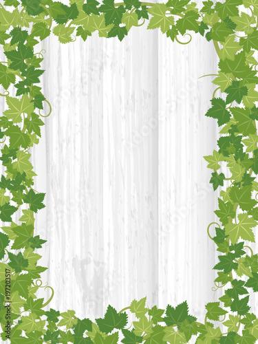 植物のフレーム素材 木目の背景素材