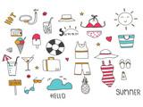 Summer doodle set.