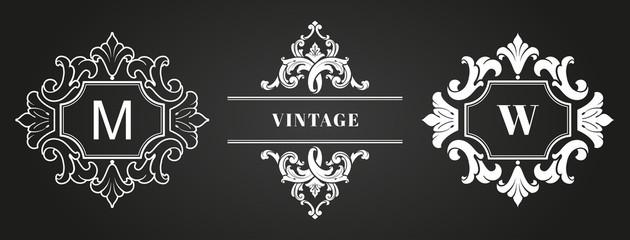 Vintage Logo Template, Frame, Monogram