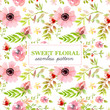 Soft pink floral seamless pattern - 197204599