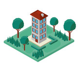 mini tree and building isometric vector illustration design