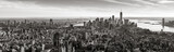 Aerial panoramic view of Lower Manhattan in Black and White. The view includes Financial District skyscrapers, East and West Village, the Hudson River, New York Harbor, and Brooklyn, New York City
