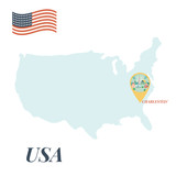 USA map with Caharleston Pin Travel Concept