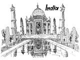 postcard india taj mahal sketch drawing