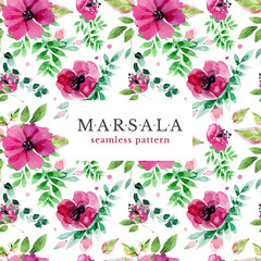 Floral marsala seamless pattern