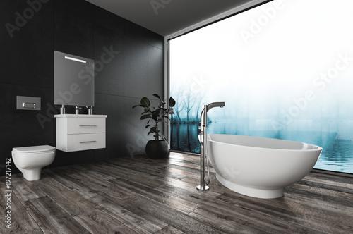 Duża łazienka z widokiem na zimowy krajobraz