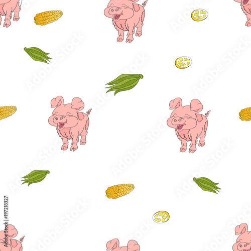 Pig , corn, lemon. Vector pattern