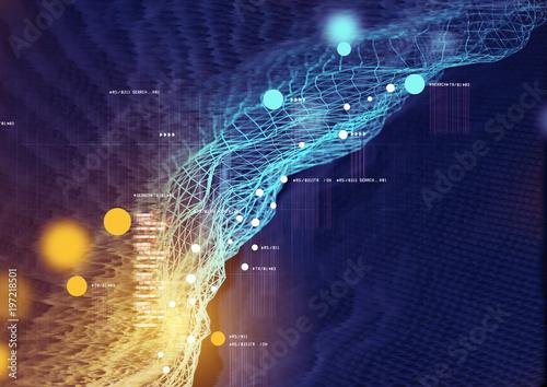 Dane wizualne i informacje wyświetlane na futurystycznym wykresie. 3D ilustracja
