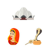 Country India cartoon icons in set collection for design.India and landmark vector symbol stock web illustration. - 197221754