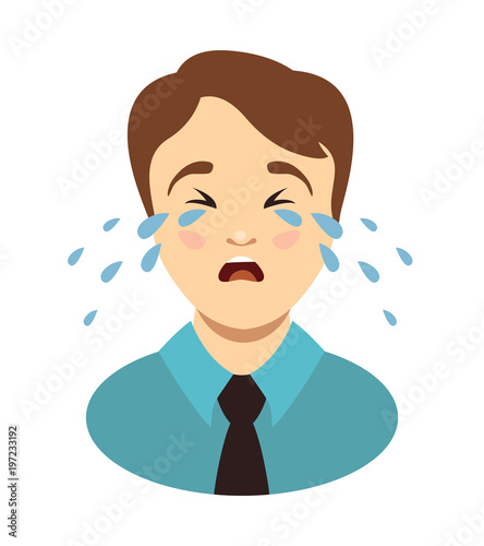 Man cries. Weeping boy head