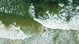 Aerial Drone View Of Ocean Waves Crushing In Slow Motion - 197233514