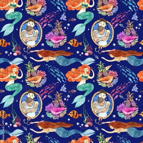Cotton fabric Watercolor hand drawn illustration mermaid and fish. Seamless pattern.