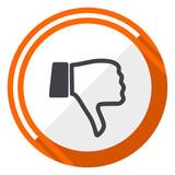 Dislike orange flat design vector web icon - 197238183